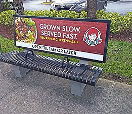 Steel Bench with Advertising Display